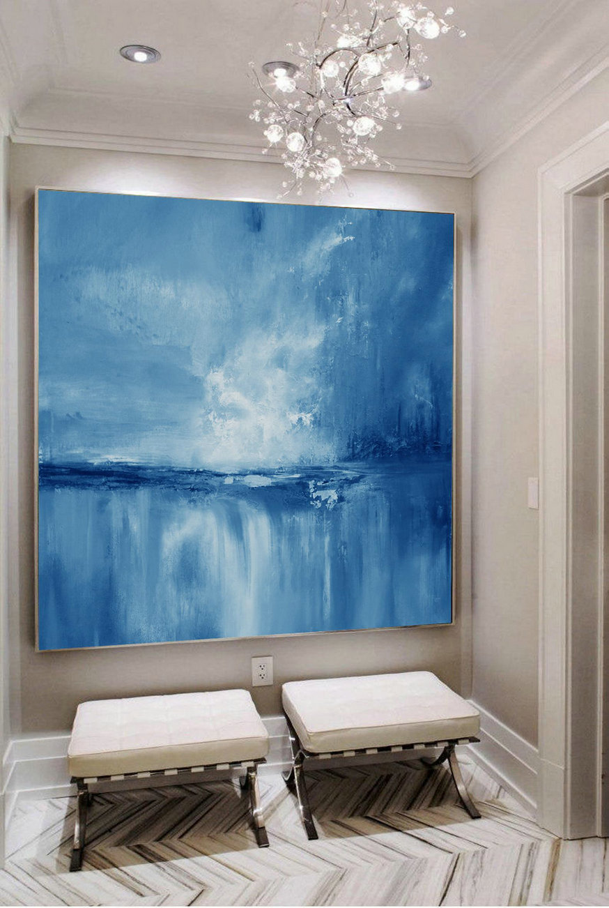 Large Wall Art Light Blue Sky Oil Painting,Large Original Sea Level Blue Oil Painting,Sky Landscape Painting,Large Ocean Canvas Oil Painting,Oversized Canvas
