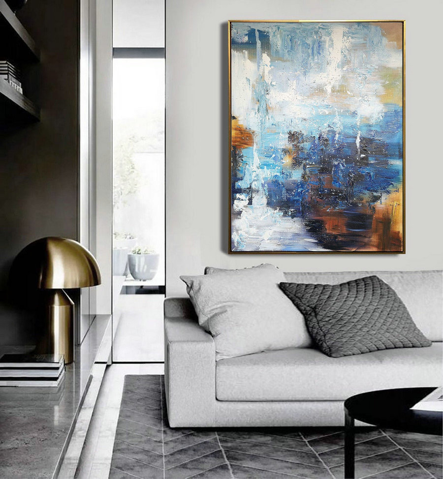 Abstract Painting,Super Large Texture Abstract Painting,Blue White Abstract Art,Acrylic Abstract Paintings On Canvas,Large Abstract Painting,Extra Large Canvas Wall Art