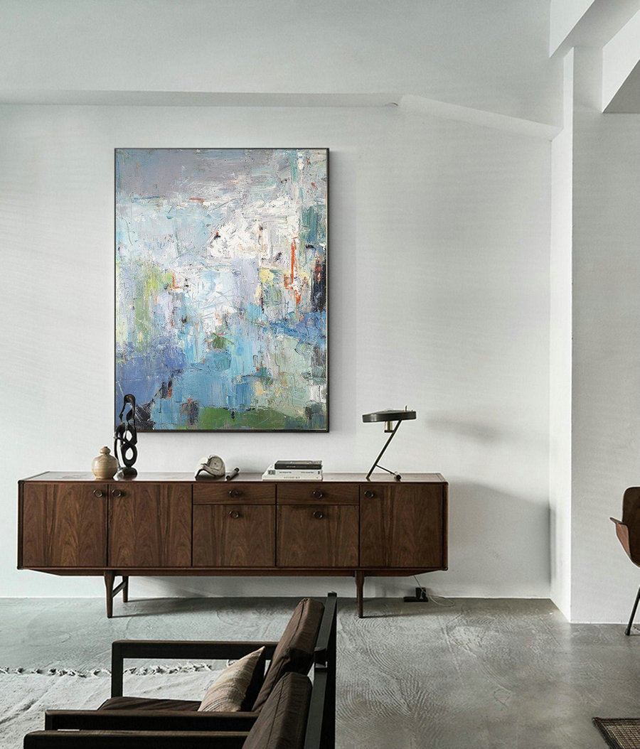 Large Texture Abstract Painting,Acrylic Abstract Painting,Blue Grey Abstract Art Painitng,Large Living Room Art Abstract Paintings On Canvas,Largewall Art