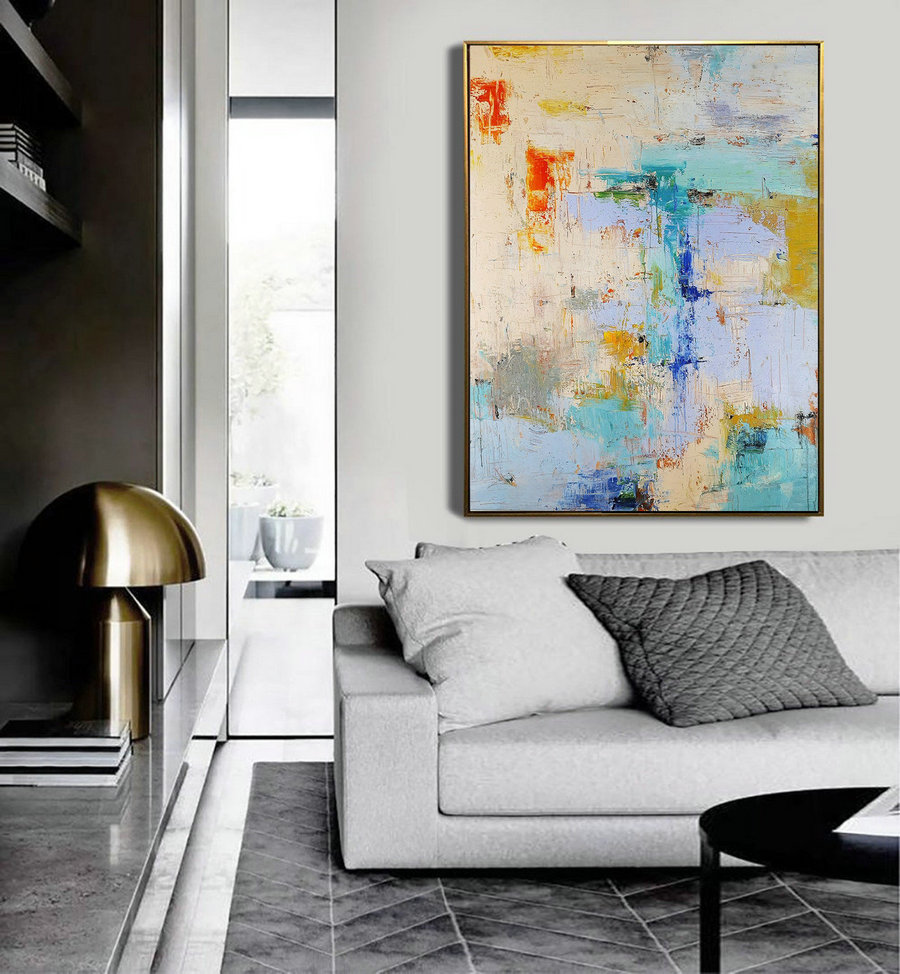 Large Texture Abstract Painting,Acrylic Abstract Painting,Blue Grey Abstract Art Painitng,Large Living Room Art Abstract Paintings On Canvas,Wall Canvas