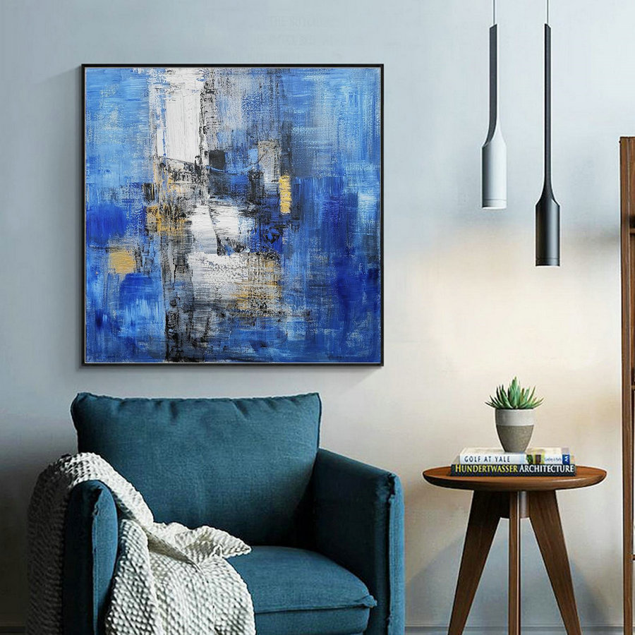 Large Blue Abstract Canvas Painting,Minimalist Abstract Painting,White Abstract Painting,Canvas Abstract Painting,Dining Room Art Painting,Canvas Painting