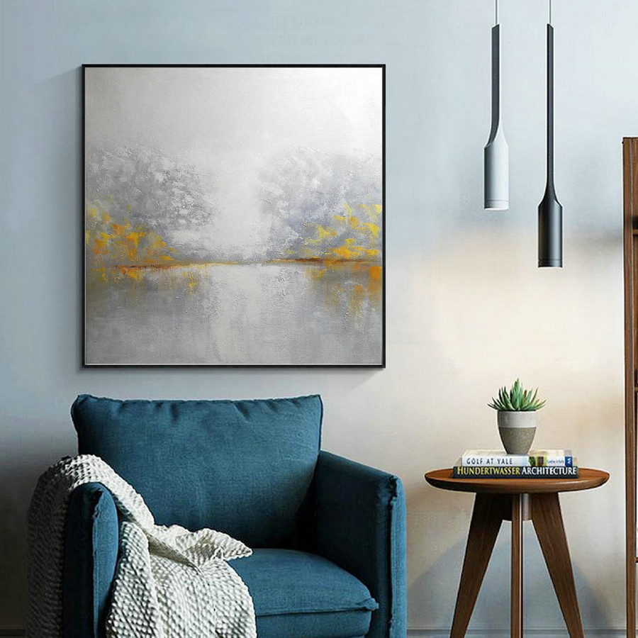 White Sky Abstract Painting,Abstract Sky Painting,Sea Abstract Painting,Large Wall Seascape Art Painting,Yellow Painting Abstract Artwork,Vintage Canvas Art
