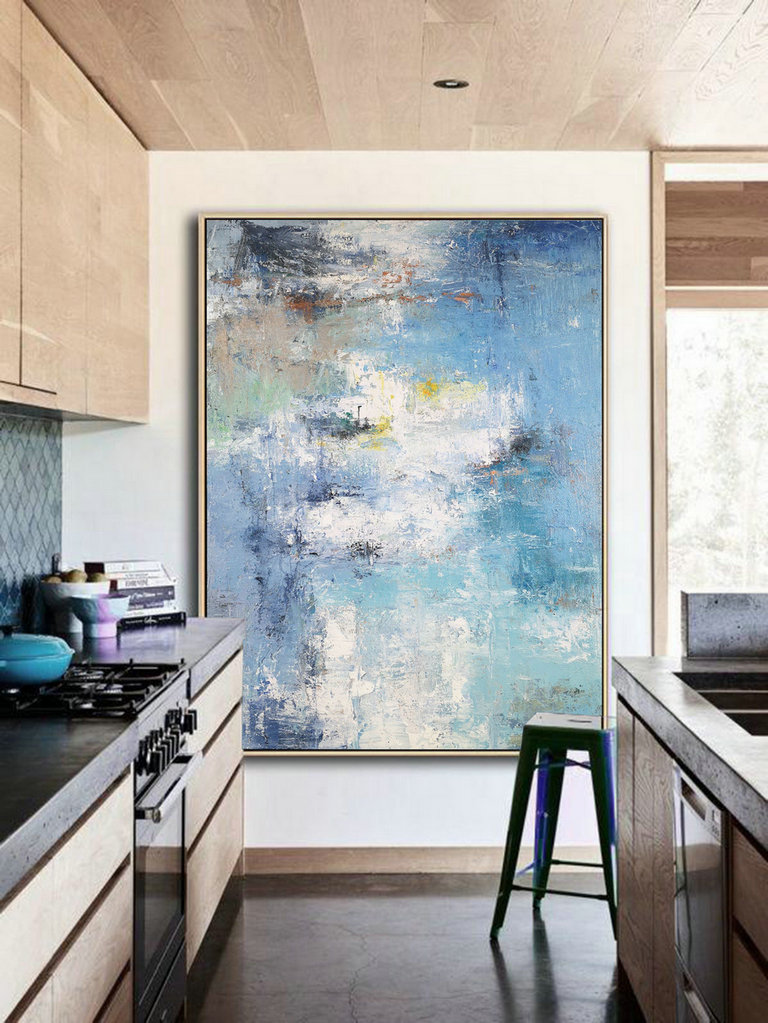 Acrylic Abstract Paintings On Canvas, Large Texture Abstract Painting, Abstract Painting, Blue White Abstract Art, Large Living Room Art,Canvas Artwork