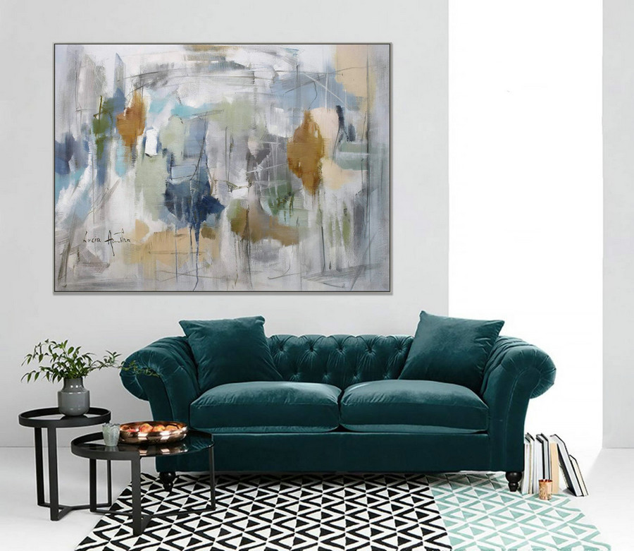 Soft Tones Abstract Painting Soft Colors Modern Art 36X48Inch/90X120Cm,Oversized Vintage Art
