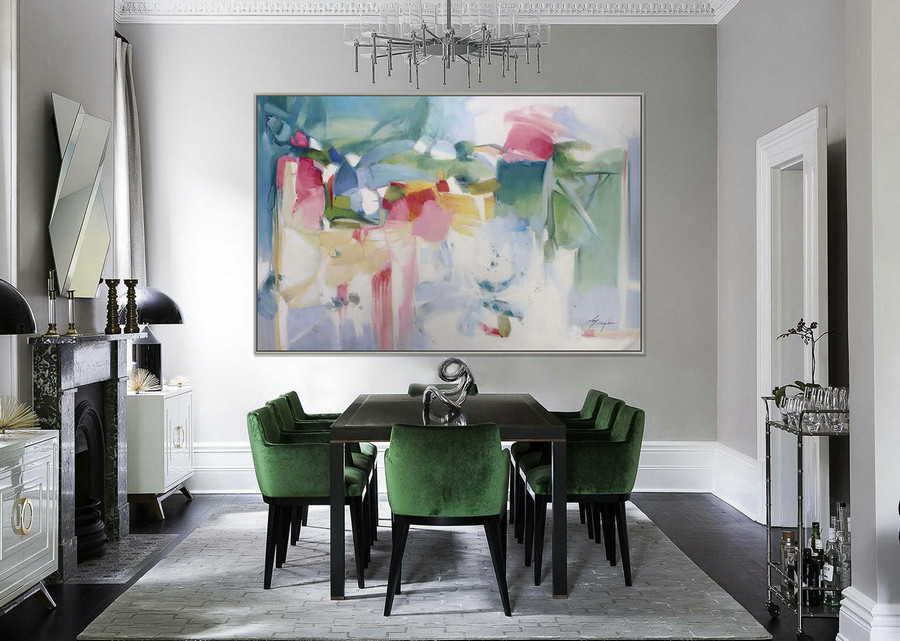Abstract Painting Modern Art Wall Decor Painting 48X72Inch / 120X180Cm Extra Large Painting Xxl Huge Abstract Art Painting Green White,Extra Large Photo