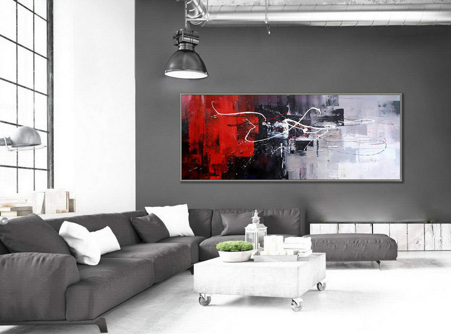 Colorful Wall Art Painting Contemporary Panoramic Palette Knife Acrylic Painting Black White Red Modern Colorful Wall Art 27X72Inch/70X180Cm,Large Wall Paintings