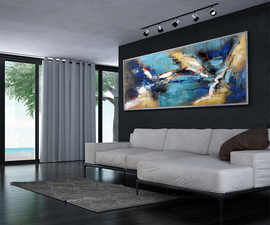 Abstract Wall Art Modern Colorful Large Modern Art Panoramic Abstract Painting 27X72Inch/70X180Cm,Cheap Modern Canvas Wall Art