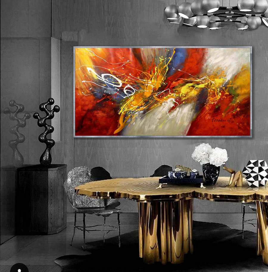 Large Abstract Painting Original Contemporary Modern Wall Art Hand-Painted Horizontal Painting 36X72Inch/90X180Cm,Very Large Artwork For Sale