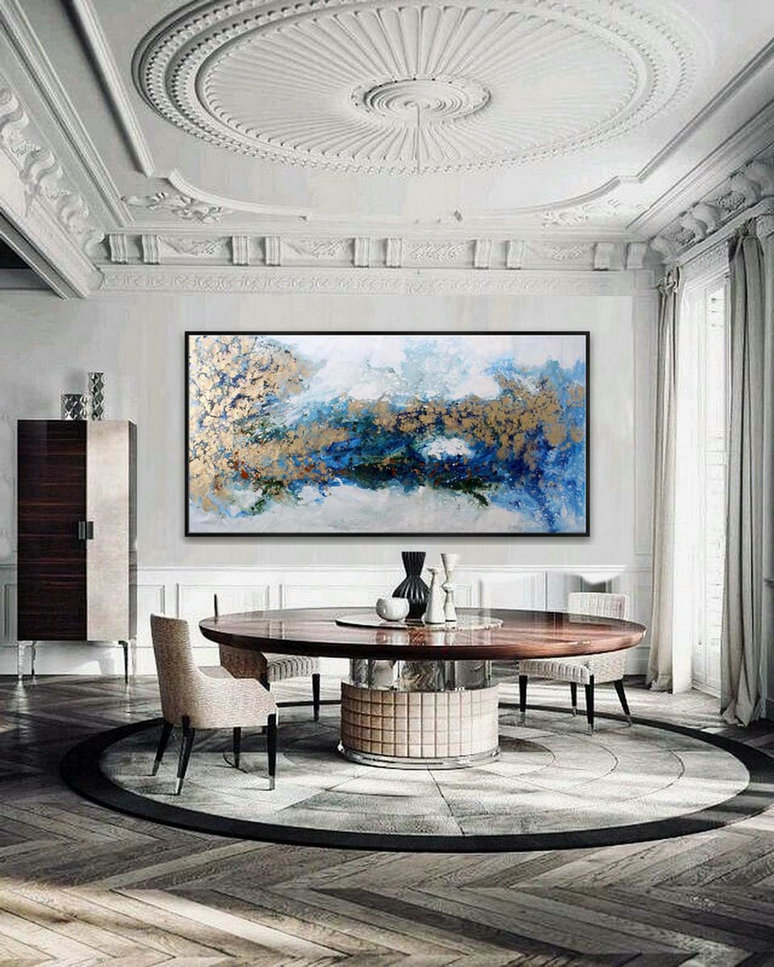 Gold Blue Acrylic Fluid Art Oversize Wall Art Abstract Modern Super Large Painting On Canvas 48X96Inch/120X240Cm Xl, Xxl,Xxxl,Digital Photos To Canvas Large