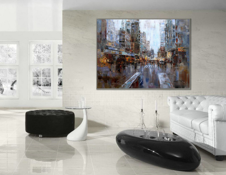 36X48Inch / 90X120Cm Modern Contemporary Skyline Wall Art New York Abstract Hand Painted Oil Painting On Canvas,Purchase Canvas Art