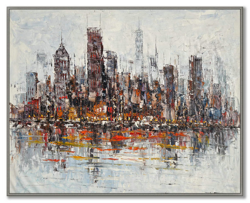 Original Painting Of New York Skyline Unique One Of A Kind,Large Photo Wall