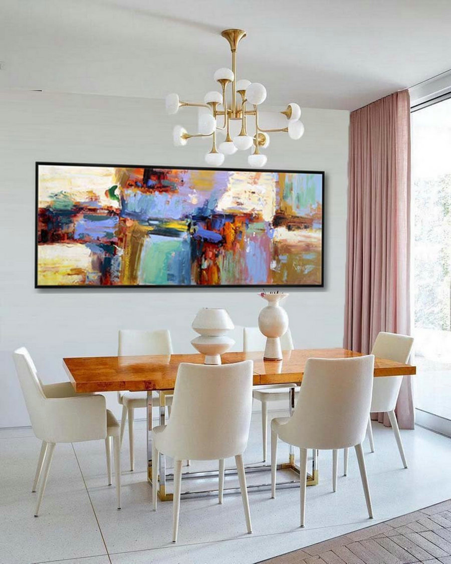 Abstract Painting Large Modern Wall Art Contemporary Panoramic Palette Knife Painting 27X72Inch/70X180Cm,Photography Canvas Wall Art