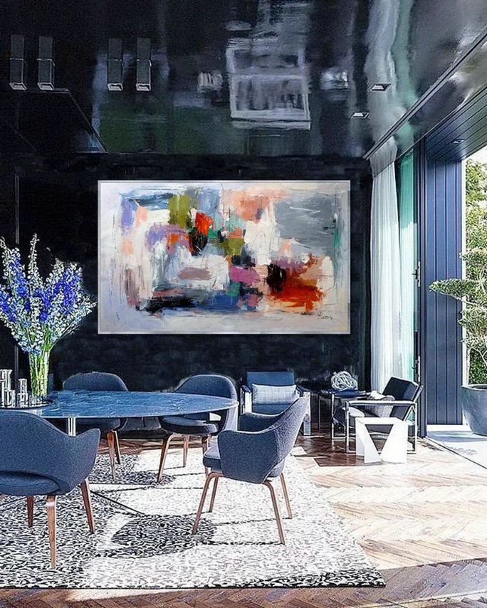 Extra Large Abstract Hand Painted Palette Knife Acrylic Painting On Canvas Oversize Contemporary Modern Wall Art Home Office Decor,Large Paintings And