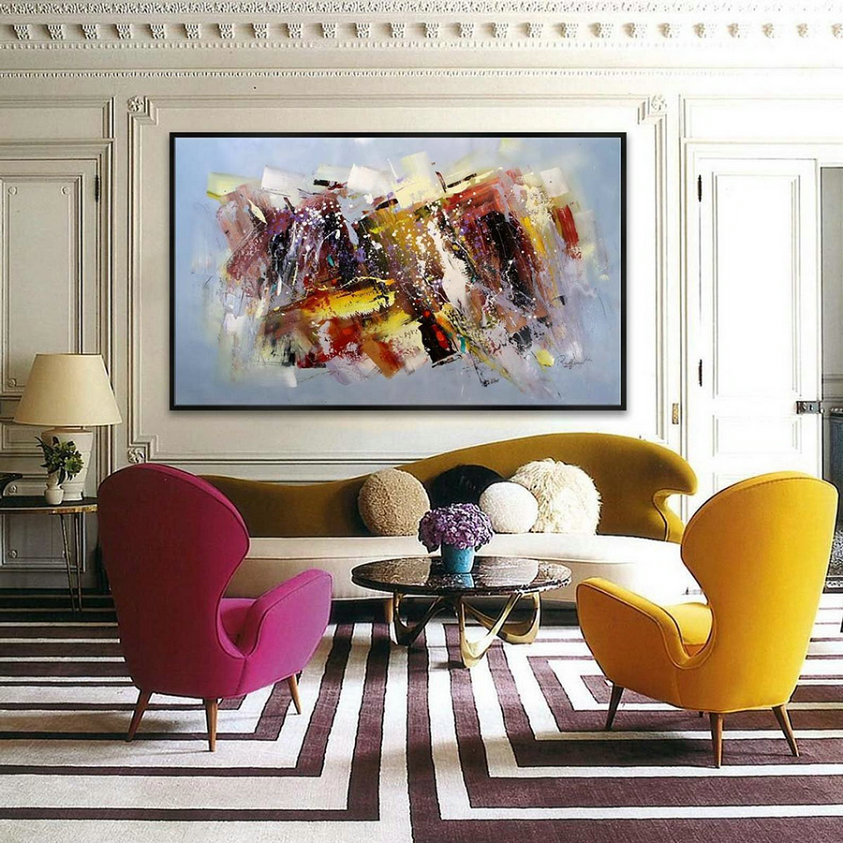 47X79Inch /120X200Cm Abstract Contemporary Horizontal Modern Painting Hand Acrylic Painted Large Panoramic Wall Art,Discount Art