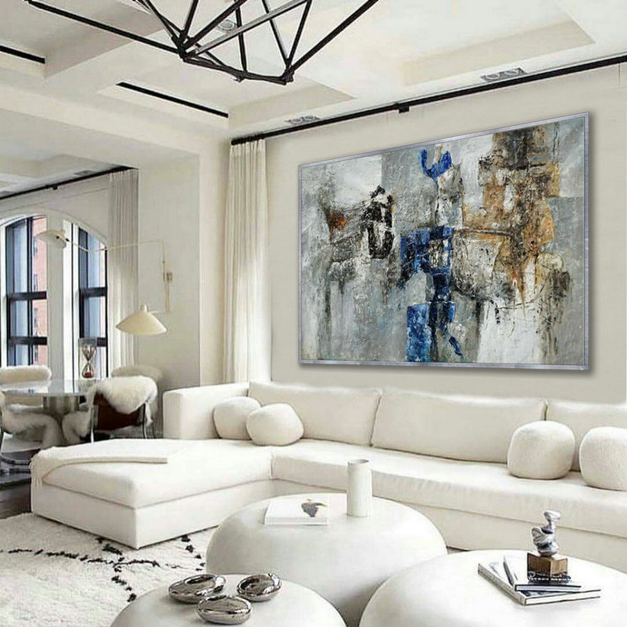 Abstract Wall Art Work Hand Painted Textured Modern Contemporary Horizontal Oil Painting On Canvas Hotel Office Living Room 48X72Inch 120X180Cm,Large Format Canvas Art