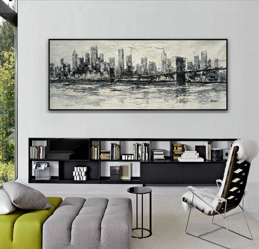 New York Brooklyn Bridge Skyline Modern Contemporary Large Wall Art Work Original Oil Painting On Canvas,Extra Large Wall Art Decor