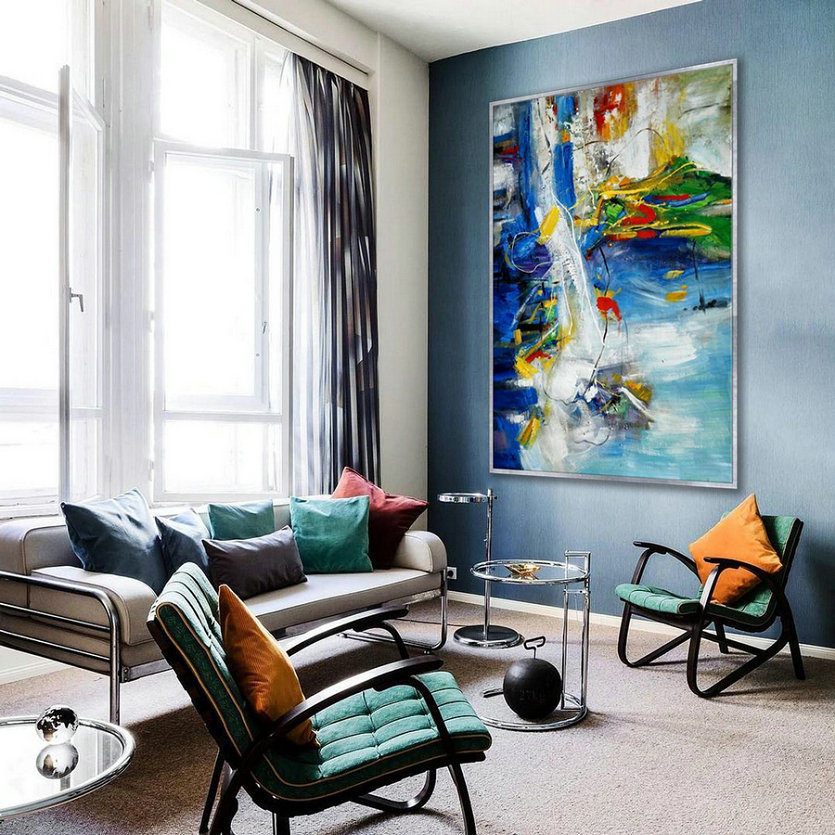 Colorful Modern Contemporary Artwork Extra Large Vertical Abstract Wall Art Hand Painted Acrylic Painting On Canvas 48X72Inch Xxl 120X180Cm,Extra Large Black And White Art - Click Image to Close