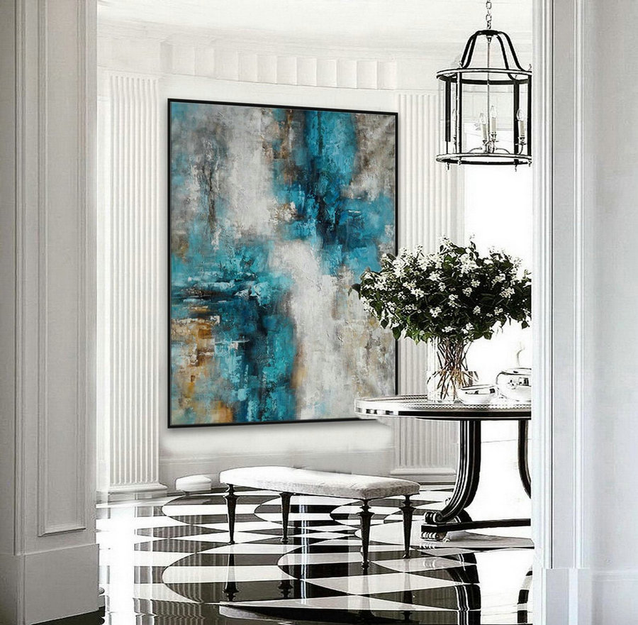 Texture Abstract Oversize Modern Contemporary Canvas Wall Art Hand Made Extra Large Textured Vertical Acrylic Painting 60X80Inch / 150X200 Xxl,Contemporary Canvas Art