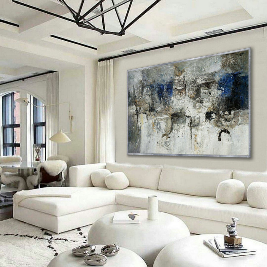 Simple Minimal Modern Neutral Wall Art Abstract Rustic Minimalist Contemporary Hand Painted Oil Painting On Canvas Large 48X72Inch 122X183Cm,Large Stretched Canvas Artwork