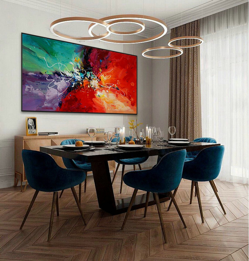 Colorful Modern Contemporary Artwork Large Horizontal Abstract Wall Art Hand Painted Acrylic Painting On Canvas,Extra Large Modern Art