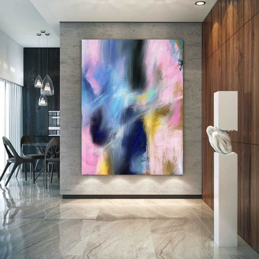 Extra Large Wall Art Palette Knife Artwork Original Painting,Painting On Canvas Modern Wall Decor Contemporary Art, Abstract Painting Pac262,Large Wrapped Canvas