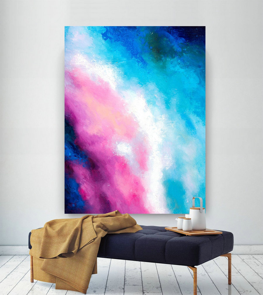 Pink Blue Extra Large Wall Art, Abstract Painting On Canvas Modern Home Decor Office Home Artwork Large Original Contemporary Art Xl Lac694,Oversized Art Canada