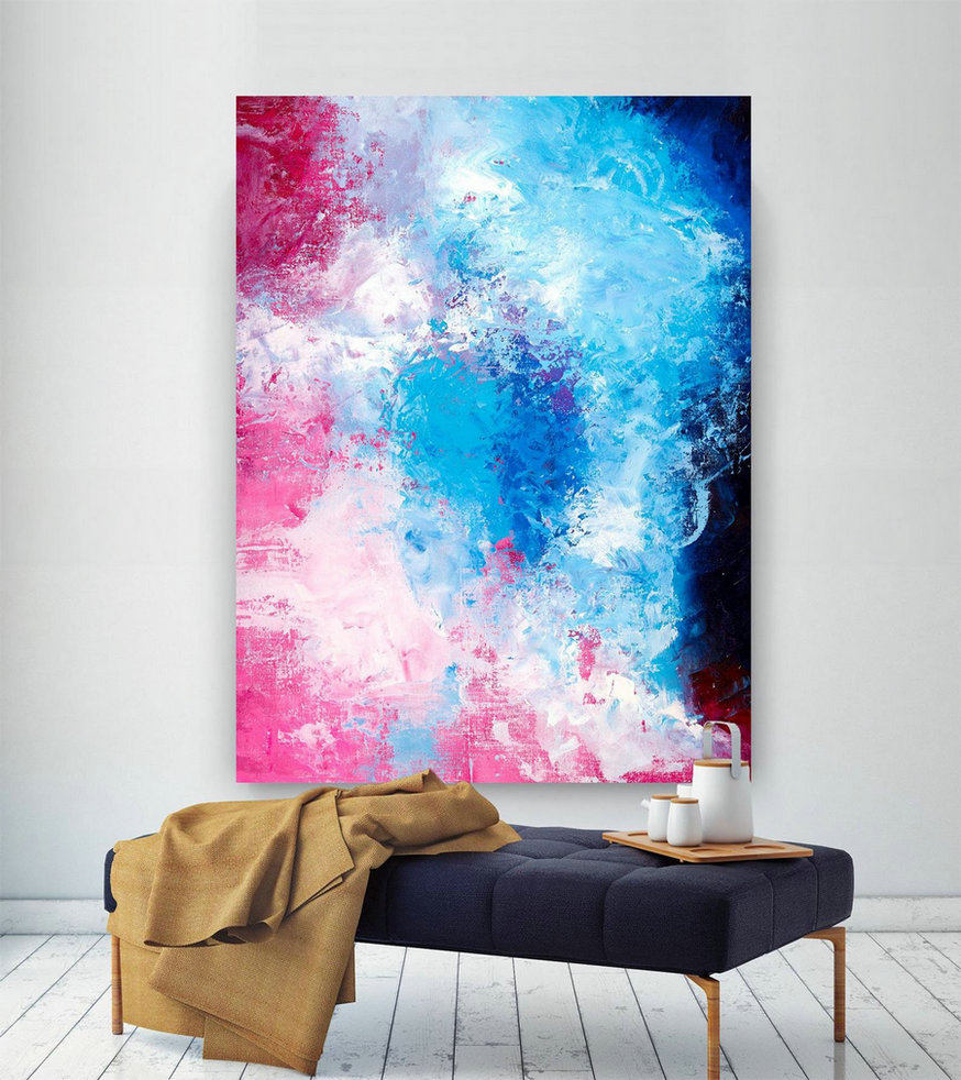 Pink Blue Extra Large Wall Art, Abstract Painting On Canvas Modern Home Decor Office Home Artwork Large Original Contemporary Art Xl Lac688,Large Wall Pictures For Sale