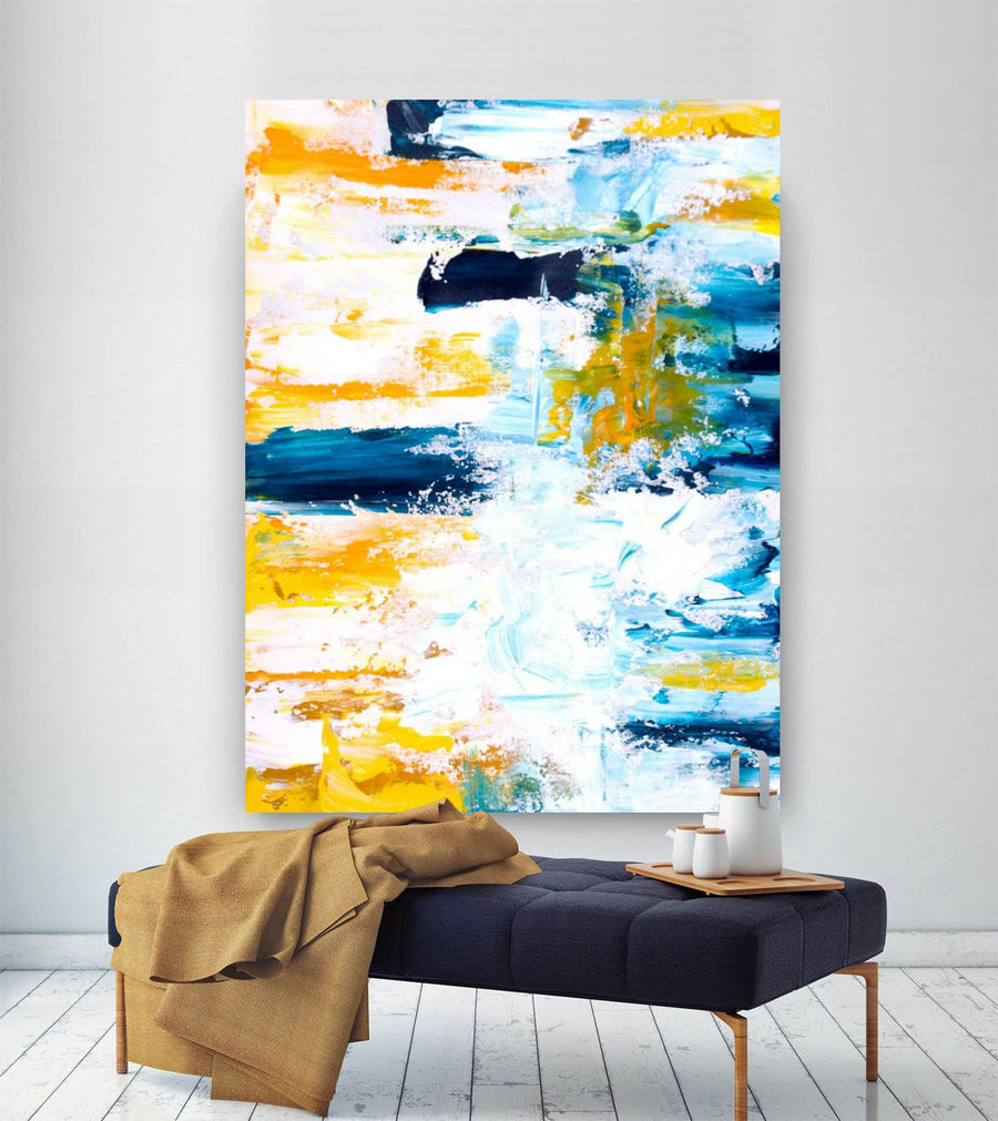 Extra Large Wall Art Original Handpainted Contemporary Xl Abstract Painting Horizontal Vertical Huge Size Art Bright And Colorful Lac708,Extra Large Art Posters
