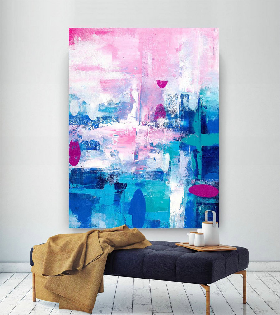 Pink Blue Extra Large Wall Art, Abstract Painting On Canvas Modern Home Decor Office Home Artwork Large Original Contemporary Art Xl Lac682,Large Canvas Abstract Art For Sale