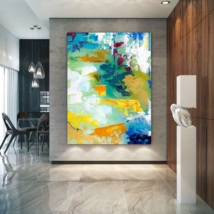 Extra Large Wall Art Original Handpainted Contemporary Xl Abstract Painting Horizontal Vertical Huge Size Art Bright And Colorful Lac711,Big Wall Art Decor