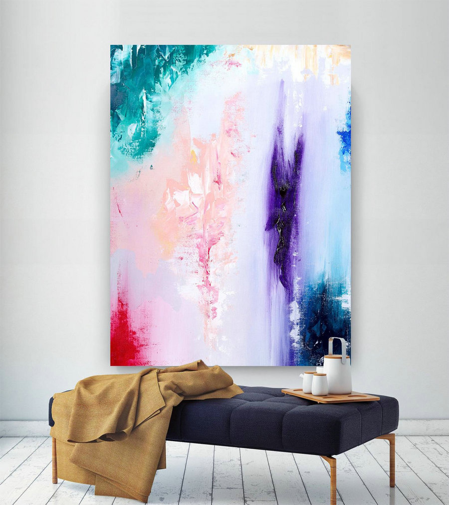 Extra Large Wall Art Original Handpainted Contemporary Xl Abstract Painting Horizontal Vertical Huge Size Art Bright And Colorful Lac706,Massive Wall