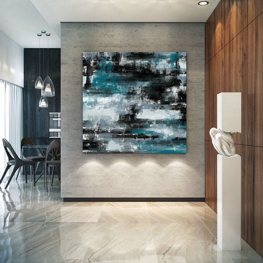 Turquoise And Black Large Canvas Art Original Painting,Painting On Canvas Modern Wall Decor Contemporary Art, Abstract Painting Pac426,Extra Large Framed