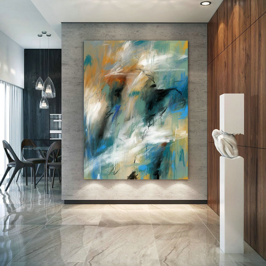 Teal Turquoise Soft Tones Contemporary Original Painting,Painting On Canvas Modern Wall Decor Contemporary Art, Abstract Painting Pac397,Large Size Art
