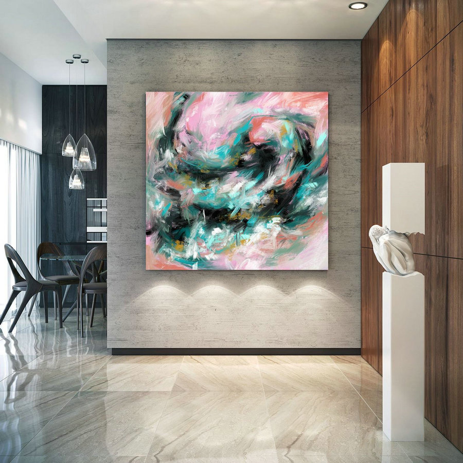 Modern Blush Pink Mint Extra Large Wall Art Abstract Painting Decor Original Painting On Canvas Modern Wall Decor Contemporary Art Pac408,Giant Paintings For Sale