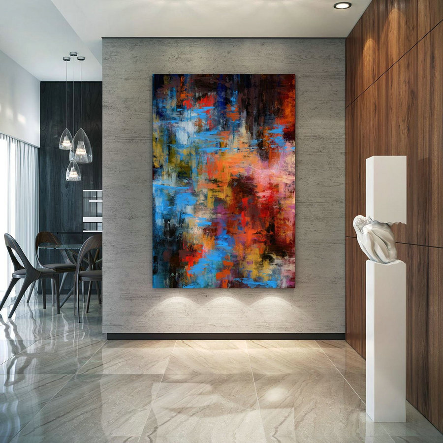 Extra Large Wall Art Palette Knife Artwork Original Painting,Painting On Canvas Modern Wall Decor Contemporary Art, Abstract Painting Pac356,Stretched Canvas Paintings For Sale