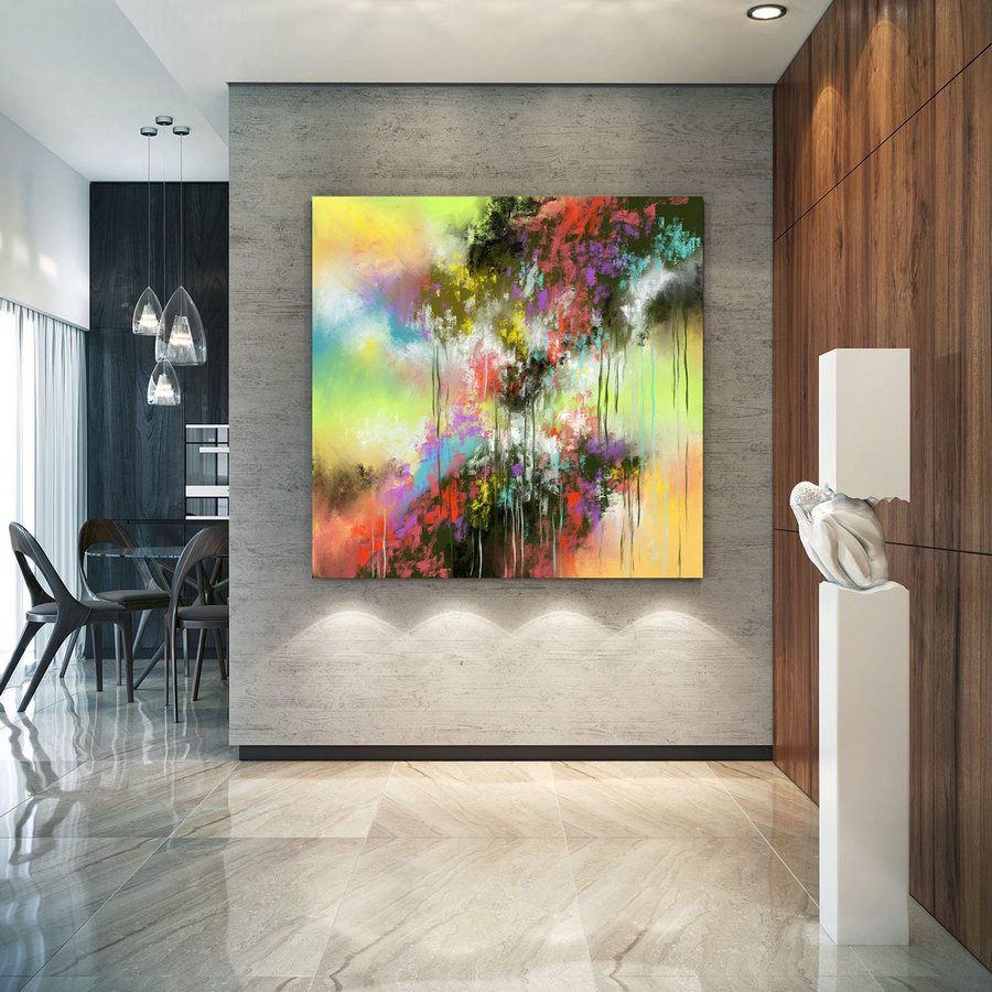 Extra Large Wall Art Palette Knife Artwork Original Painting,Painting On Canvas Modern Wall Decor Contemporary Art, Abstract Painting Pic028,Giant Framed