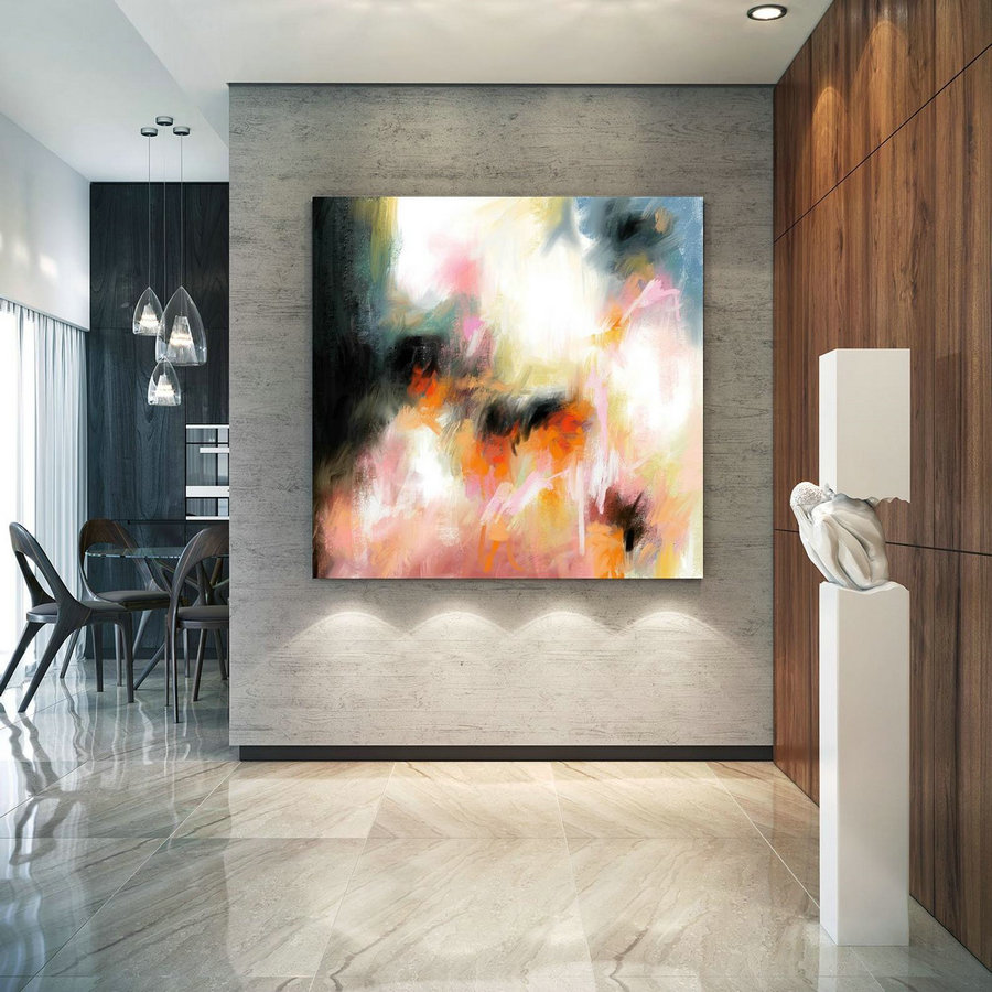 Abstract Canvas Original Paintings Abstract Paintings Wall Art For Luxury Interiors Living Room Decor Huge Size Art, Office Wall Art Pac179,Large Red Artwork