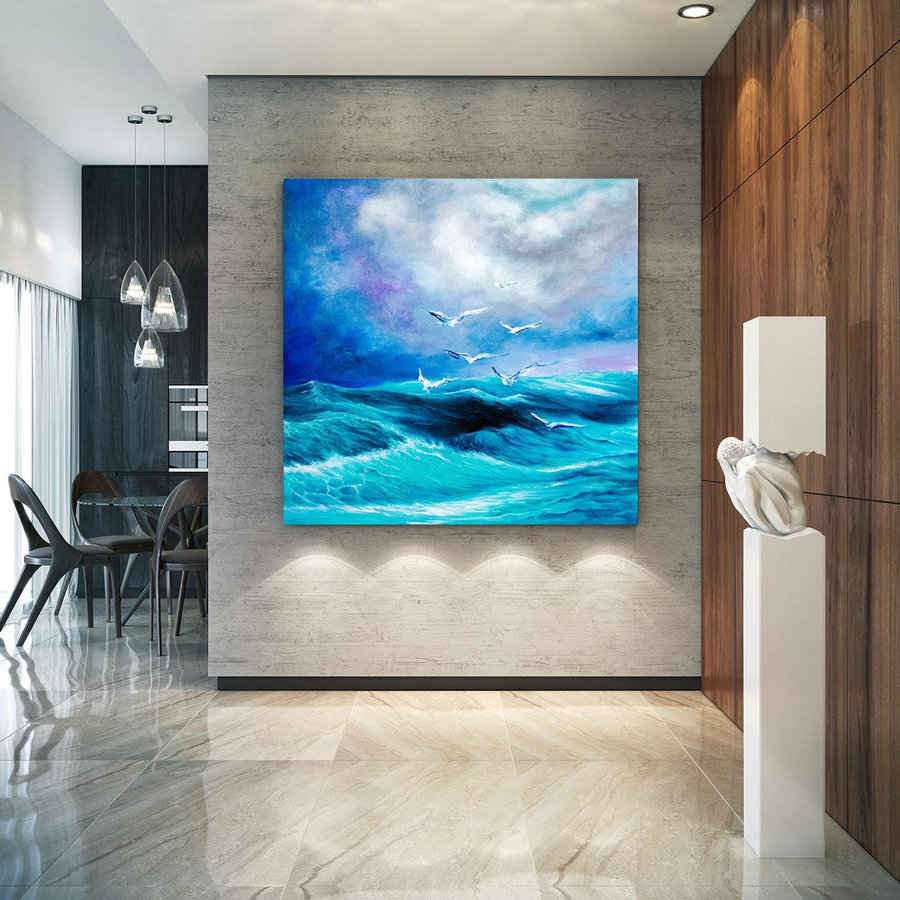 Extra Large Horizon Seascape Wave Painting , Modern Acrylic Painting On Canvas, Original Wall Art, Painting Modern, Large Paintings Lac676,Large Size Paintings
