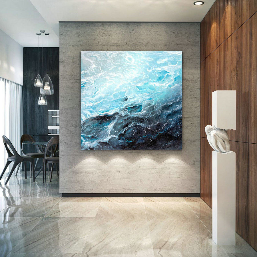 Extra Large Horizon Seascape Wave Painting , Modern Acrylic Painting On Canvas, Original Wall Art, Painting Modern, Large Paintings Lac679,Cheap Oversized Artwork
