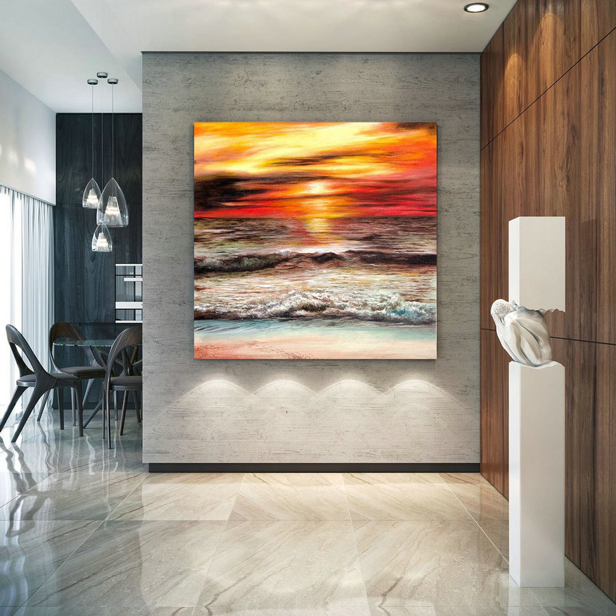 Extra Large Horizon Seascape Wave Painting , Modern Acrylic Painting On Canvas, Original Wall Art, Painting Modern, Large Paintings Lac686,Long Wall