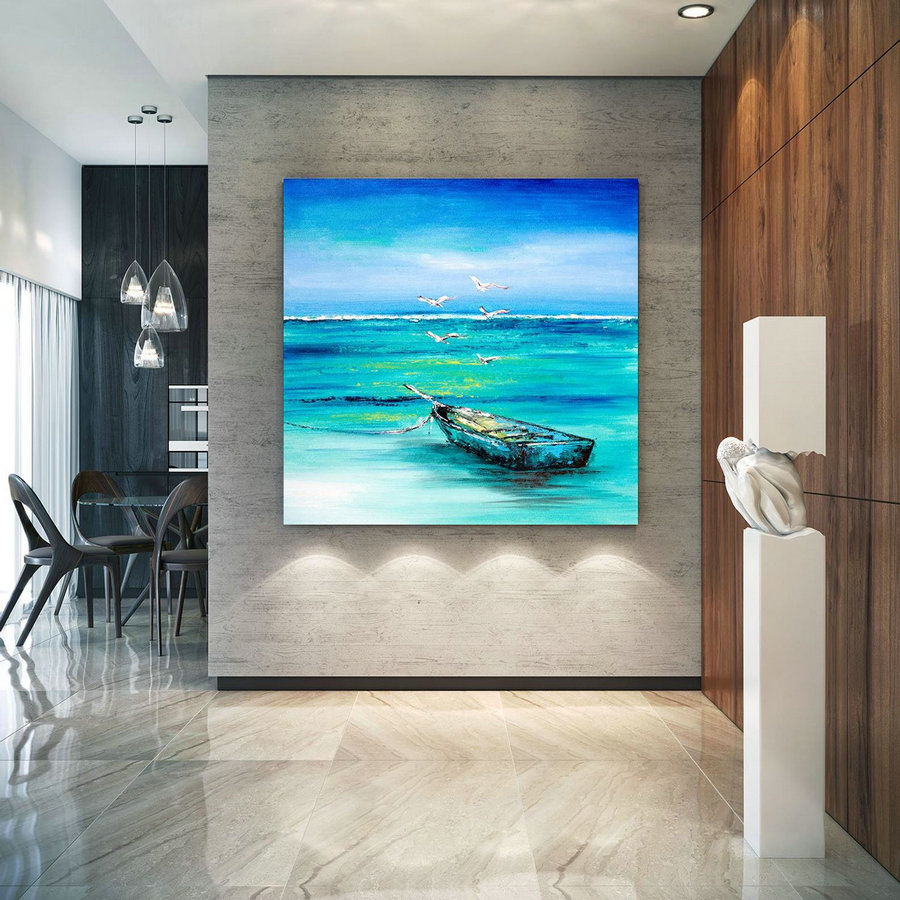 Extra Large Horizon Seascape Wave Painting , Modern Acrylic Painting On Canvas, Original Wall Art, Painting Modern, Large Paintings ,Large Poster Wall Art