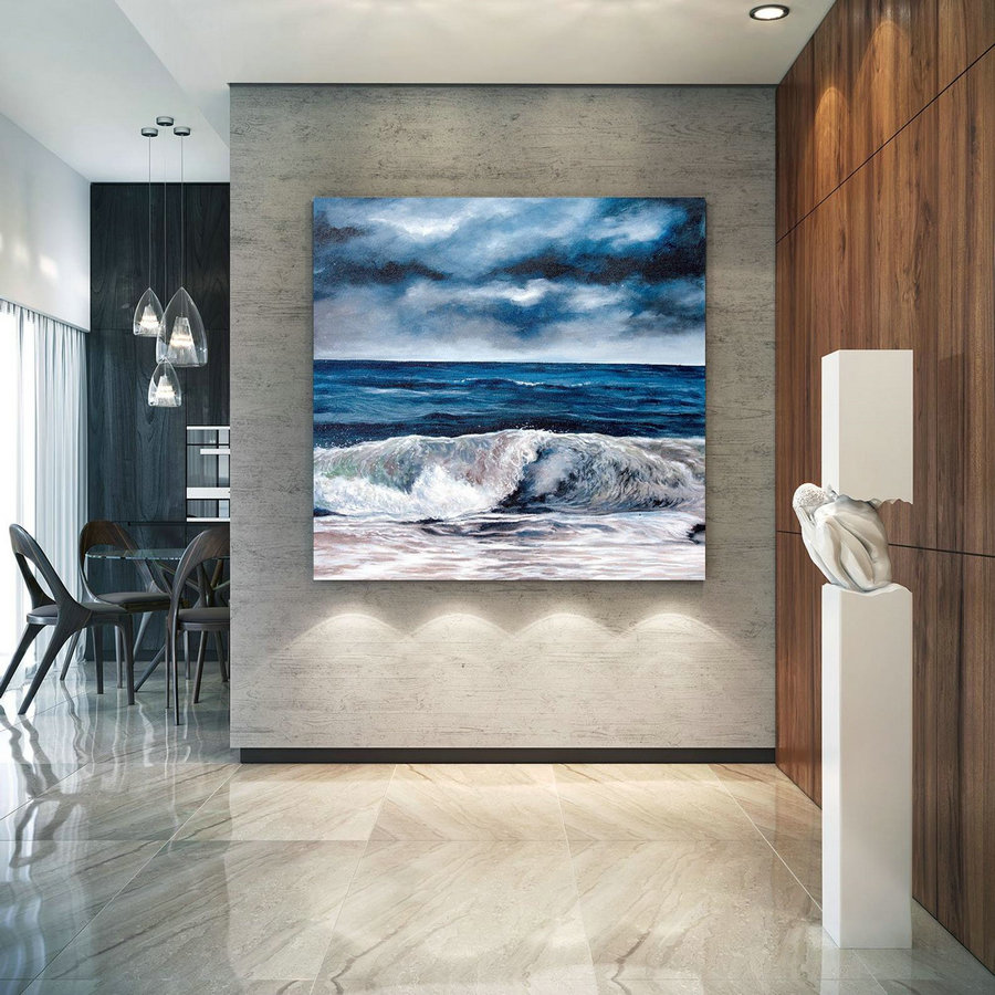 Extra Large Horizon Seascape Wave Painting , Modern Acrylic Painting On Canvas, Original Wall Art, Painting Modern, Large Paintings Lac678,Large Canvas Decor