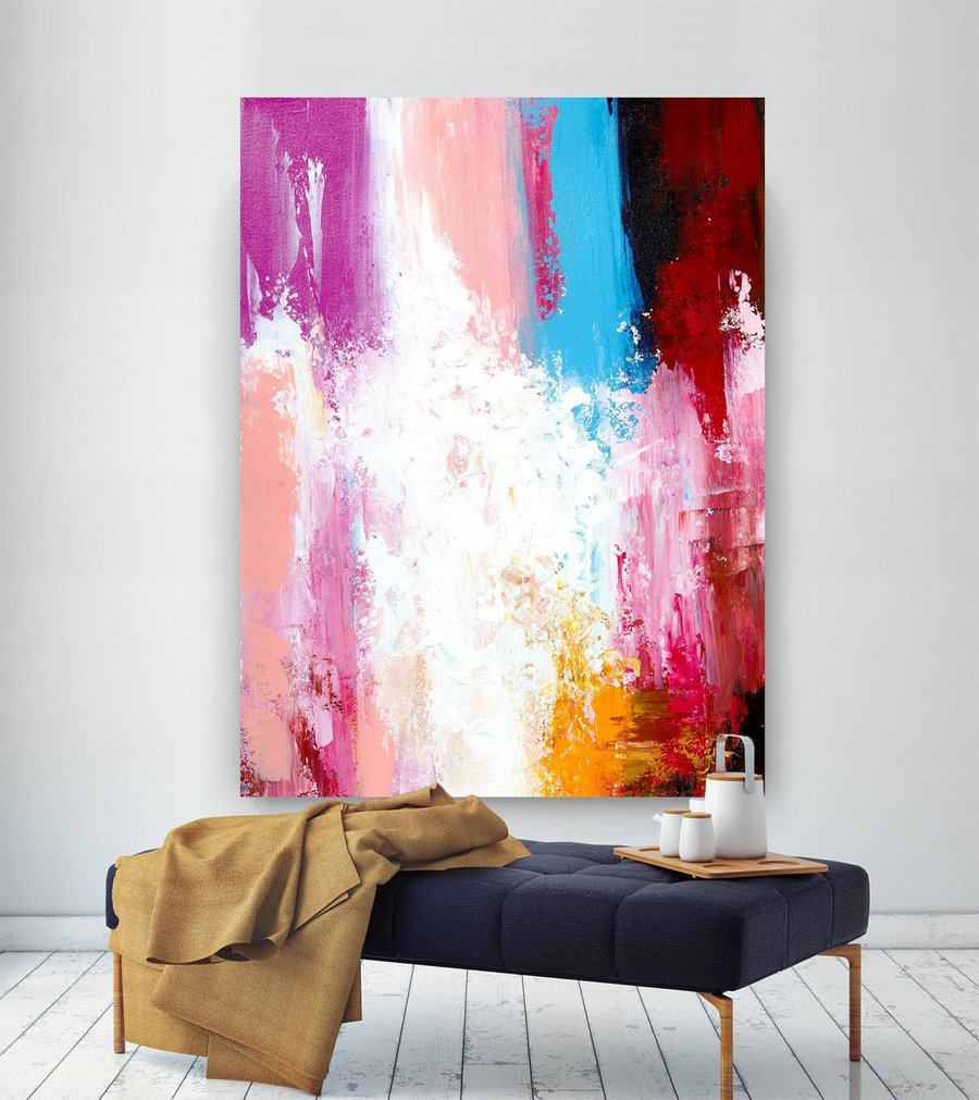 Extra Large Wall Art Original Painting On Canvas Contemporary Wallart Modern Abstract Living Room Wall Artcolorful Abstract Painting Lac629,Paint And Canvas