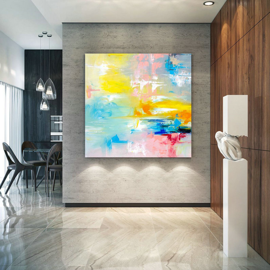 Large Abstract Painting, Original Canvas Art, Contemporary Wall Art, Modern Artwork, Office Wall Art, Extra Large Canvas Colorful Lac701,Extra Large Art For Sale