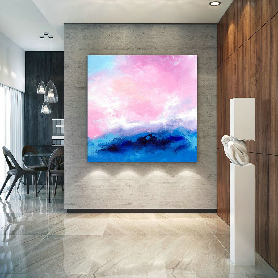 Pink Blue Extra Large Wall Art, Abstract Painting On Canvas Modern Home Decor Office Home Artwork Large Original Contemporary Art Xl Lac685,Large Canvas Floral Art