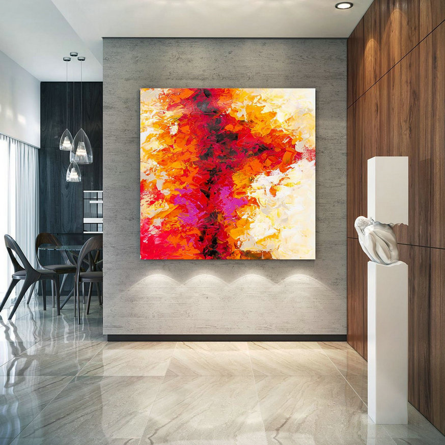 Large Abstract Painting, Original Canvas Art, Contemporary Wall Art, Modern Artwork, Office Wall Art, Extra Large Canvas Colorful Lac699,Oversized Photographic