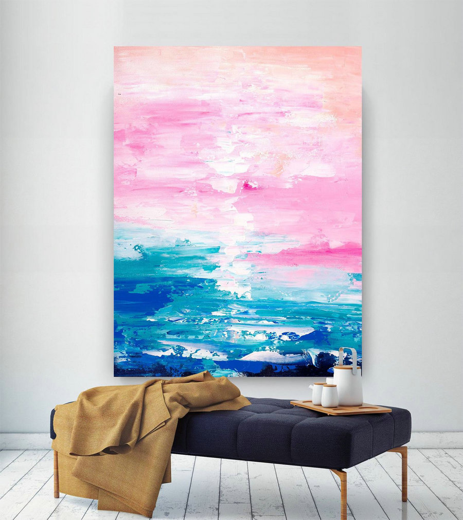 Pink Blue Extra Large Wall Art, Abstract Painting On Canvas Modern Home Decor Office Home Artwork Large Original Contemporary Art Xl Lac683,Oversized Wall Pictures
