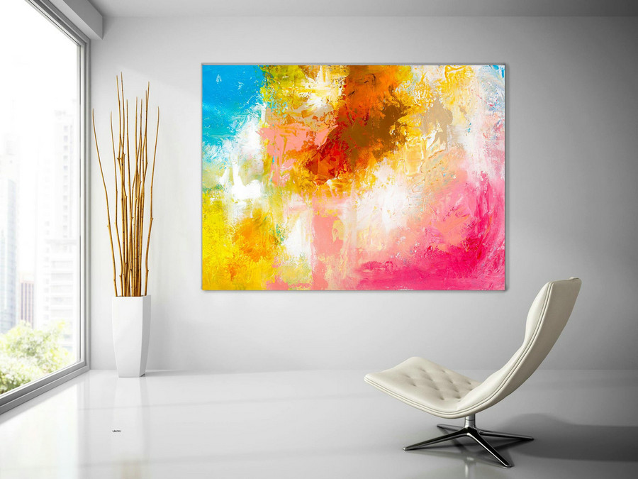 Extra Large Wall Art Original Handpainted Contemporary Xl Abstract Painting Horizontal Vertical Huge Size Art Bright And Colorful Lac705,Canvas In Art