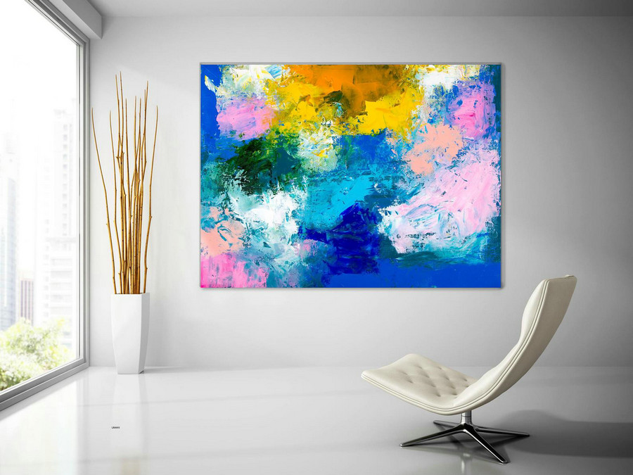 Pink Blue Extra Large Wall Art, Abstract Painting On Canvas Modern Home Decor Office Home Artwork Large Original Contemporary Art Xl Lac693,Big Cheap Canvas Art