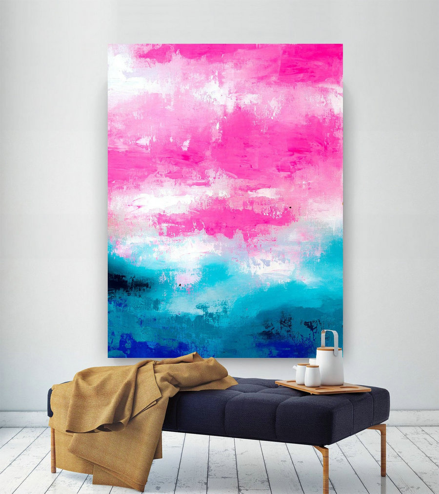 Pink Blue Extra Large Wall Art, Abstract Painting On Canvas Modern Home Decor Office Home Artwork Large Original Contemporary Art Xl Lac691,Really Big Canvas
